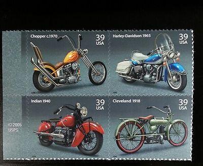 2006 39C AMERICAN MOTORCYCLES, BLOCK OF 4 SCOTT 4085-88 MINT F/VF NH