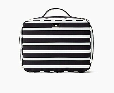 NEW! Kate Spade Dawn Sailing Stripe Travel Cosmetic Bag~ Black/White ~ Free Ship