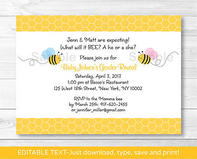 Lil Bumble Bee What Will It Bee? Printable Gender Reveal Invitation Editable PDF - Bumble Bee Invitations