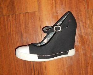 ROCK & CANDY GOLD LUXE WOMENS NEW BLACK WEDGE MARY JANE SHOES UK SIZE 6.5 (39.5)