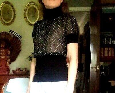 Kikiriki Tulle Silk Black White Polka Dot Top Blouse Mod Turtle Neck size 6 8 10