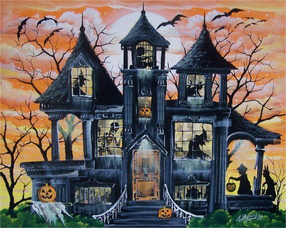 Byrum Folk Art Halloween Witches HAUNTED HOUSE PRINT Children Ghosts
