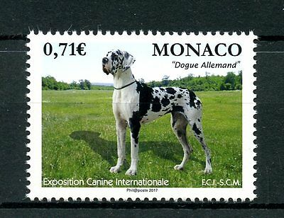 Monaco 2017 MNH International Dog Show Great Dane 1v Set Pets Dogs Stamps