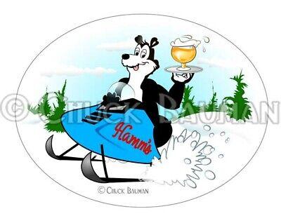 Hamm's Beer Bear Snowmobile snow machine beer mascot sky blue waters (Snow Machine Snowmobile)