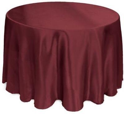 LinenTablecloth 108-Inch Round Satin Tablecloth Burgundy