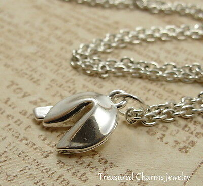 Fortune Cookie Necklace (Silver Fortune Cookie Charm Necklace - Good Luck Chinese Food Jewelry)
