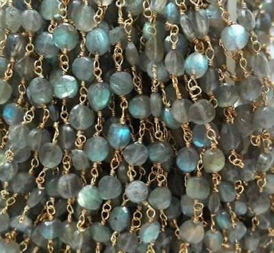 3 Feet Labradorite Coin Faceted 4-5mm Beads, Rosary Beaded Chain Gold Plated