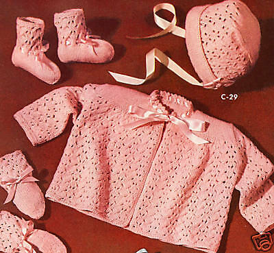 Knitting PATTERN Baby Sacque Bonnet Booties Mittens Set ()