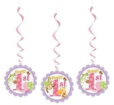 3 x Cute Girl's Pink Safari Happy 1st Birthday Hanging Swirl Decorations - New