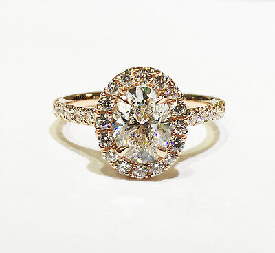 1.80 Ct. Oval Cut Pave Halo Diamond Engagement Ring - GIA CERTIFIED & APPRAISED