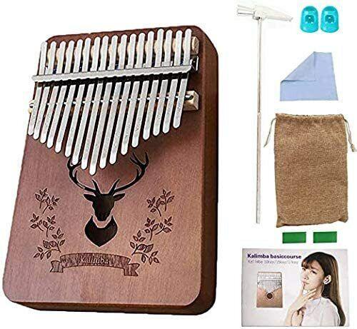 Kalimba Thumb Piano 17 Keys Deer Finger Piano Mbira with Tuning Hammer