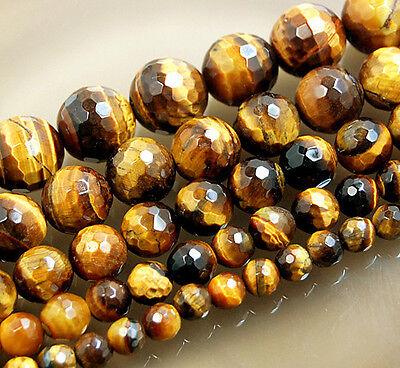 Tiger Eye Gemstone Beads - Natural Faceted Yellow Tiger Eye Round Gemstone Beads 15