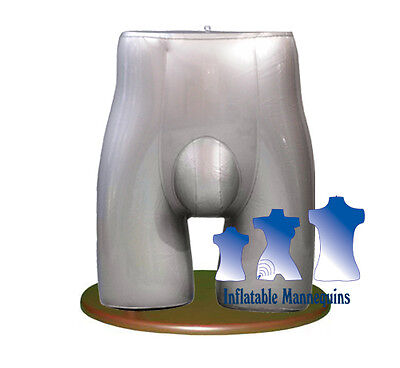 Inflatable Male Brief Form With Wood Table Top Stand Silver