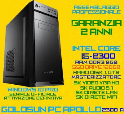 Usato, PC FISSO DESKTOP INTEL Core i5-2300 RAM 8GB SSD120G HDD1TB DVDRW TASTIERA MOUSE  usato  Altilia