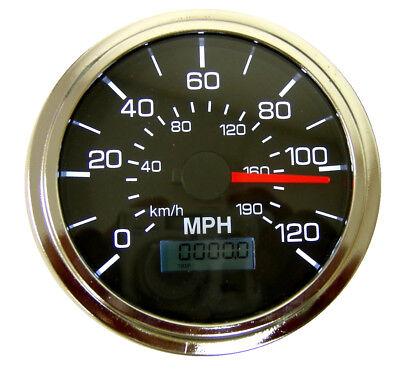 "GPS Speedometer, 3-3/8""/86mm,120 MPH,LED light,black/chrome,001-SP-BC/GPS"