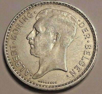 Monnaie belge- pièce de 20 francs -Argent- Albert 1er- 1934