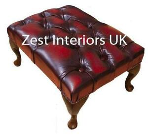 Red Leather Footstool  sc 1 st  eBay : leather foot stool - islam-shia.org