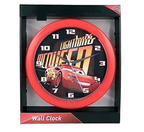 "DISNEY PIXAR CARS 10"" WALL CLOCK LIGHTNING MCQUEEN HANGING D"
