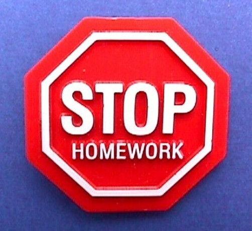 Hallmark PIN Vintage School STOP HOMEWORK Sign SLOGAN Brooch