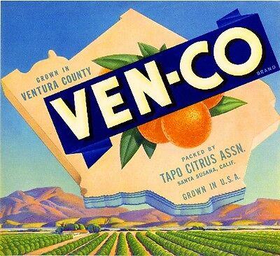 Santa Susana Ventura California Ven-Co Orange Citrus Fruit Crate Label Art Print for sale  La Verne