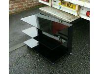 3 tier black glass entertainment cabinet