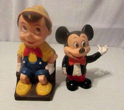 Vintage Disney Banks Pinocchio Mickey Play Pal Plastics