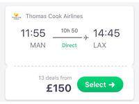 Flight to Los Angles LA from Manchester MAN 24th may cheap