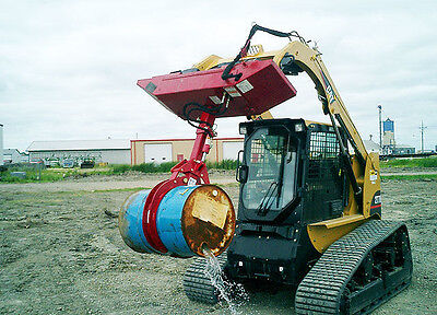 Skid Steer 55 Gallon Barrel Grabber Attachment with 300° Rotating Base