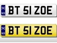 Private Number plate for Zoe