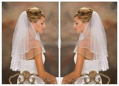 Schleier 2lg zweilagig Brautschleier mit Satinkante Weiß