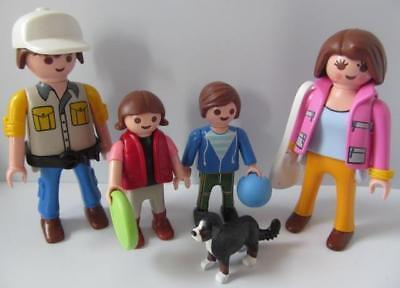 Playmobil Dollshouse figures: Family with little girl & boy, puppy & toys NEW