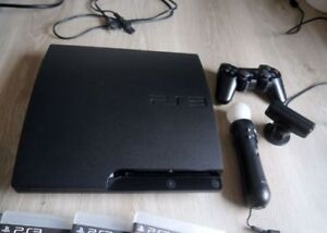 SELLING PS3 SLIM WITH PS MOVE, SOME GAMES AND 2 CONTROLLERS