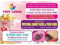 Popcorn, Candy Floss and Lolly Waffle Machine- Manned Hire Essex/ East London