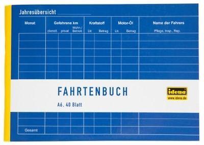 Idena Fahrtenbuch A6 quer 40 Blatt Steuern Finanzamt 390 Fahrten