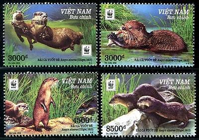 WWF Small Clawed Otter set of 4 mnh stamps 2016 Vietnam
