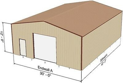 Steel Metal Garage Building Kit 1200 sq workshop barn shed prefab storage