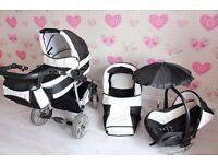 Baby Pram Stroller Buggy Pushchair Twing Karex 3in1 car seat + swivel wheels