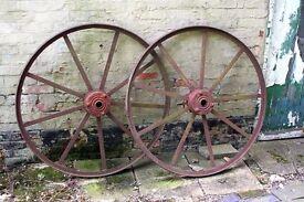 Big Red painted antique wheels – (115cm Dia)