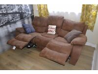 Good condition faux suede 3seater recliner sofa, easily disassembled. From pet and smoke free home