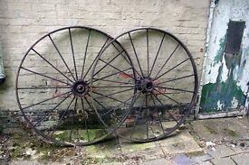 Huge black painted antique wheels – (132cm Dia)