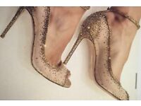 Gianvito Rossi Gold Embelished Heels