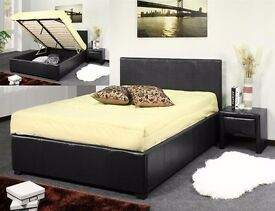 SIMGLE / DOUBLE LIFT UP STORAGE LEATHER BED WITH SEMI ORTHOPAEDIC MATTRESS FOR SALE