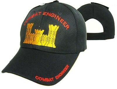 Combat Engineer Baseball Black Cap Hat Embroidered 3D (Licensed) CAP613A - Engineer Caps