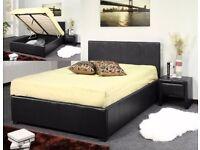 CHOCOLATE BROWN ... LEATHER OTTOMAN STORAGE BED PRADO SINGLE DOUBLE KINGSIZE BLACK LEATHER OTTOMAN