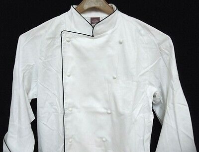 Dickies Grand Master Chef Coat White with Black Piping Chefwear Jacket 3X New