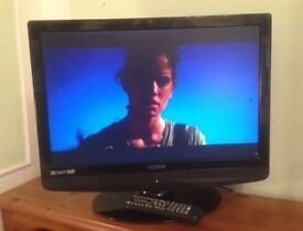 """22"""" black lcd TV ideal for kitchen or bedroom has hdmi and freeview can deliver"""