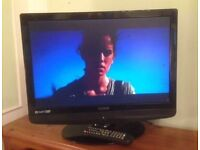 "22"" black lcd TV ideal for kitchen or bedroom has hdmi and freeview can deliver"