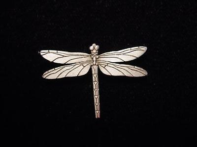 Jj  Jonette Jewelry Silver Pewter Detailed Dragonfly Tac Pin