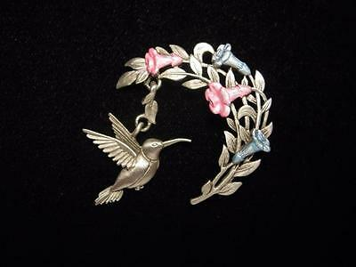 jj Jonette Jewelry Silver Pewter 'hanging Hummingbird Seeking Nectar' Pin