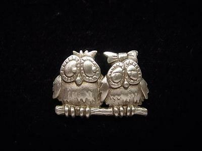jj Jonette Jewelry Silver Pewter 'owls In Love' Tac Pin Sweet Look Of Love